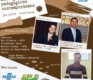 """APLB E SEBRAE PROMOVEM SEMINÁRIO """"DIÁLOGOS PEDAGÓGICOS CONTEMPORÂNEOS""""; INSCREVA-SE AQUI!"""