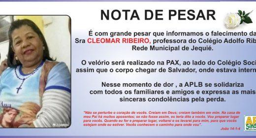 Jequié – Pesar pela morte da professora Cleomar Ribeiro, do Colégio Adolfo Ribeiro