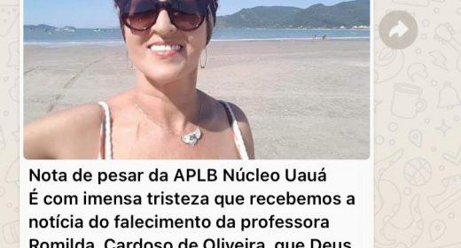 Uauá – Pesar pela morte da professora Maria Romilda
