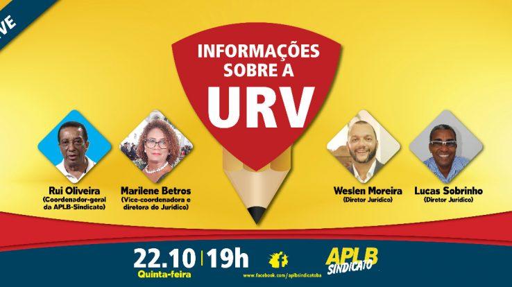INFORMAÇÕES SOBRE A URV – NA LIVE DESTA QUINTA (22/10), ÀS 19H