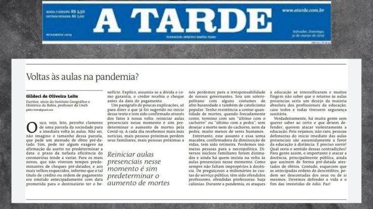 Volta às aulas na pandemia? Confira o artigo do professor Gildeci de Oliveira no A Tarde deste domingo