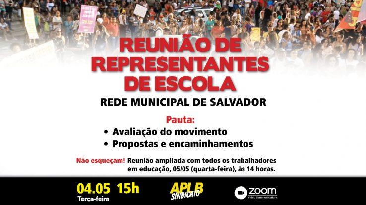 REDE MUNICIPAL – APLB CONVOCA PARA REUNIÃO DE REPRESENTANTES  DE ESCOLAS