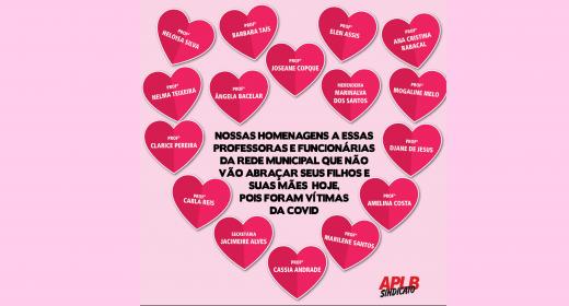 APLB homenageia mães da Educação, vítimas do covid. Para sempre presentes!