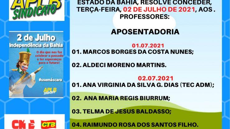 CONFIRA AS CONCESSÕES DE APOSENTADORIA DE 01 E 02 DE JULHO