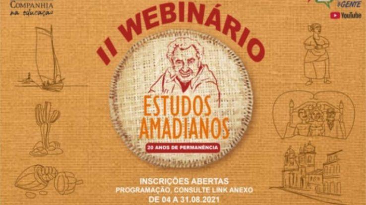 PARTICIPE DO II WEBINÁRIO ESTUDOS AMADIANOS: 20 ANOS DE PERMANÊNCIA