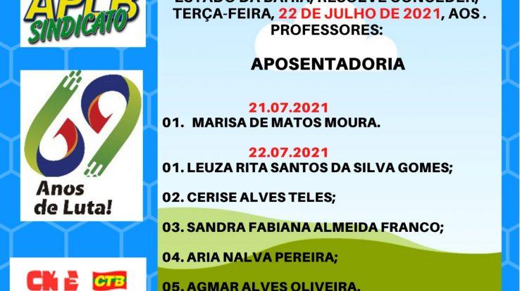 Confira as concessões de aposentadorias desta quarta e quinta (21 e 22/07)