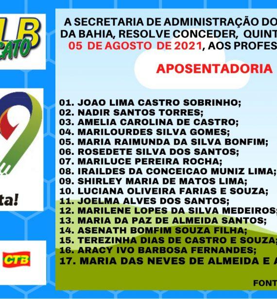 NOVA PUBLICAÇÃO DE APOSENTADORIAS CONCEDIDAS
