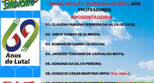 CONFIRA AS APOSENTADORIAS DESTA QUINTA (21/10)
